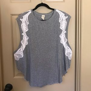Free People Lace Trim Muscle Tee